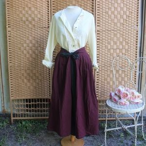 VINTAGE Bow Tie Waist Gingham Plaid Maxi Skirt S